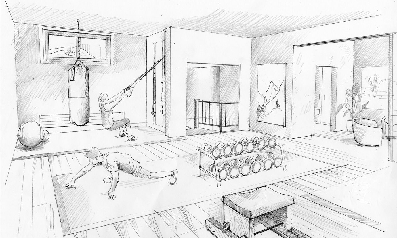 Monochrome design sketch for training area